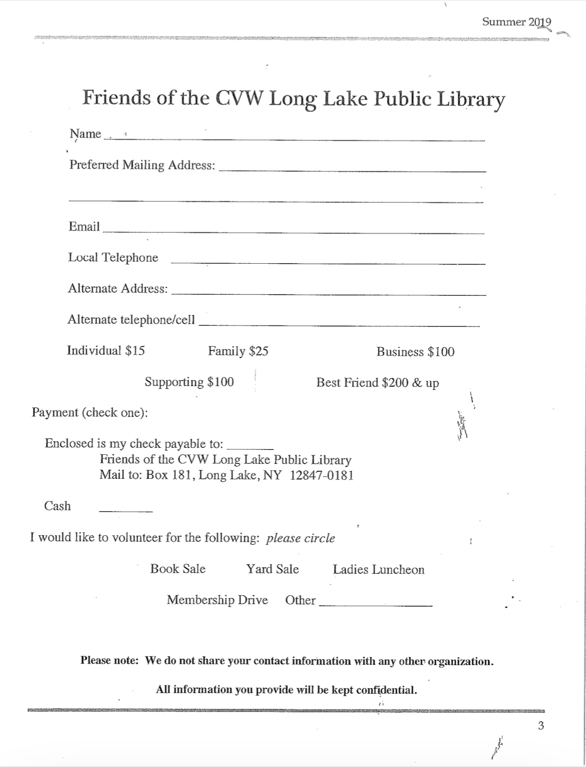 Membership: Friends of the Library